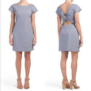 Theory Soft Seersucker Blue white Andrizza Dress